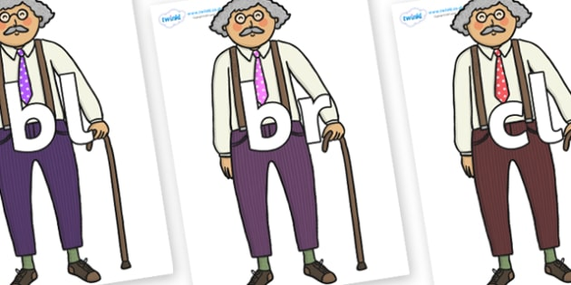 Initial Letter Blends on Little Old Man - Initial Letters, initial letter, letter blend, letter blends, consonant, consonants, digraph, trigraph, literacy, alphabet, letters, foundation stage literacy