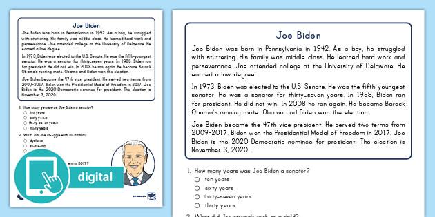 Second Grade Joe Biden Reading Passage Comprehension Activity
