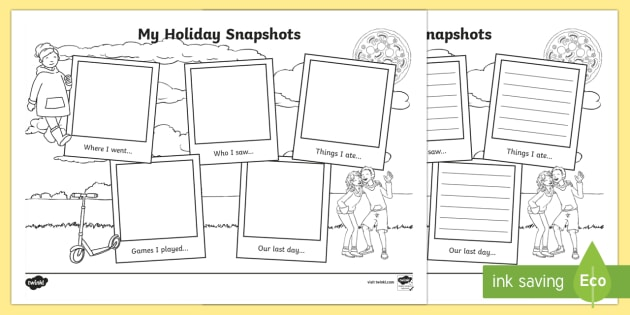 My Holiday Snapshots Writing Frames - End of Year/Back to School
