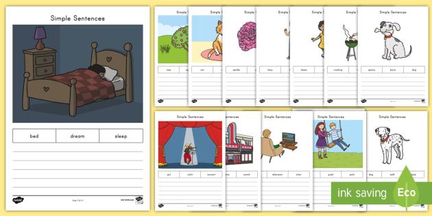 Simple Sentences Worksheet / Activity Sheets - Sentence