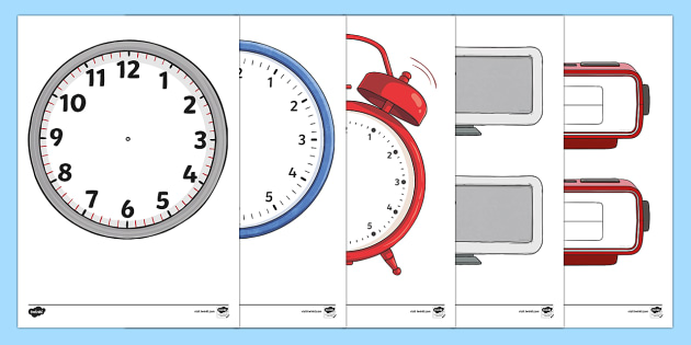Blank Alarm Clock Template Cut-Outs - Blank Clock Templates
