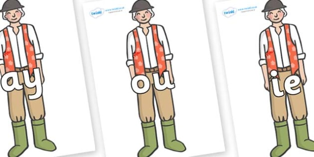Phase 5 Phonemes on Farmer to Support Teaching on Pig in the Pond - Phonemes, phoneme, Phase 5, Phase five, Foundation, Literacy, Letters and Sounds, DfES, display