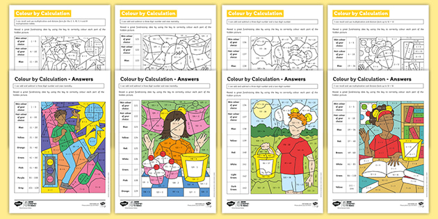 * NEW *    KS2 BBC Children in Need Colour by Calculation Maths Differentiated Worksheets