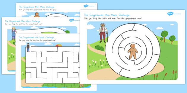 The Gingerbread Man Differentiated Maze Activity Sheets - australia, fine motor, writing, mark, making, pencil, control, worksheet