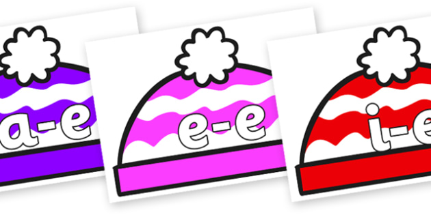 Modifying E Letters on Woolly Hats (Multicolour) - Modifying E, letters, modify, Phase 5, Phase five, alternative spellings for phonemes, DfES letters and Sounds
