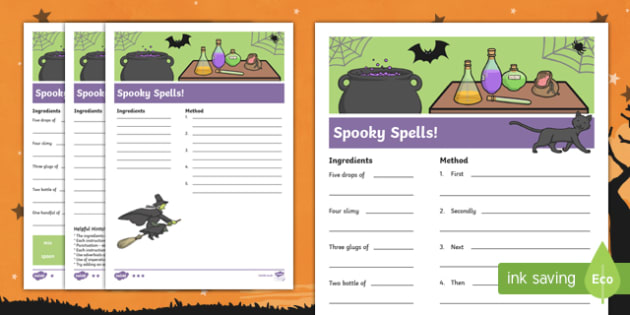 Spooky Spell Differentiated Writing Frames