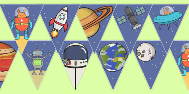 Space themed bunting bunting decorations display display for Outer space classroom decor