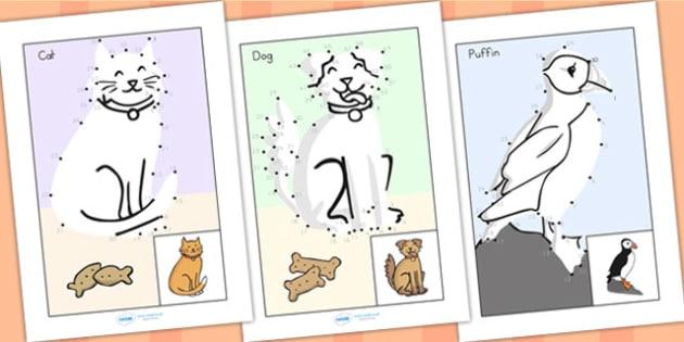 Dot to Dot Sheets Animals - animals, fine motor skills, games