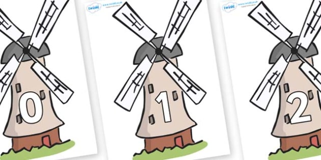 Numbers 0-50 on Windmills - 0-50, foundation stage numeracy, Number recognition, Number flashcards, counting, number frieze, Display numbers, number posters