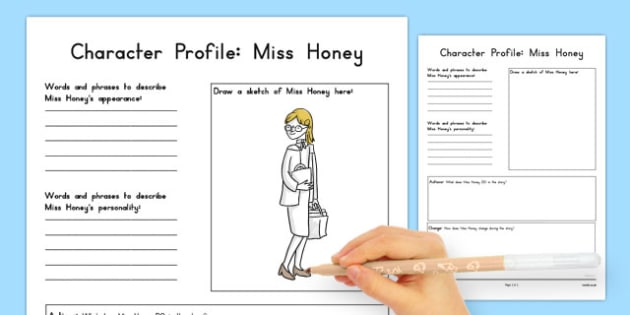 Miss Honey Character Profile Worksheet to Support Teaching on