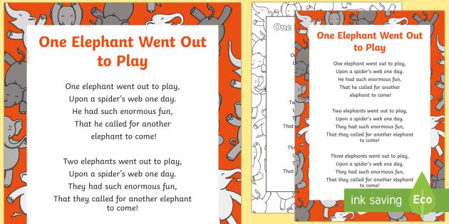 one elephant went out to play lyrics