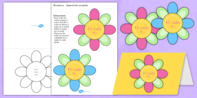 Mother's Day Flap Flower Card Spanish - EAL, translated, mum, family