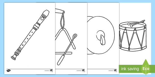 FREE! - Musical Instrument Pictures Colouring Pages