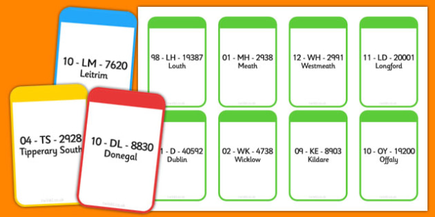 Counties of Ireland Car Registrations Flashcards - counties, ireland, car registrations