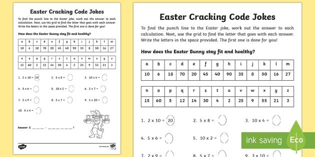 Easter Joke Multiplication Code Breaker Worksheet Activity