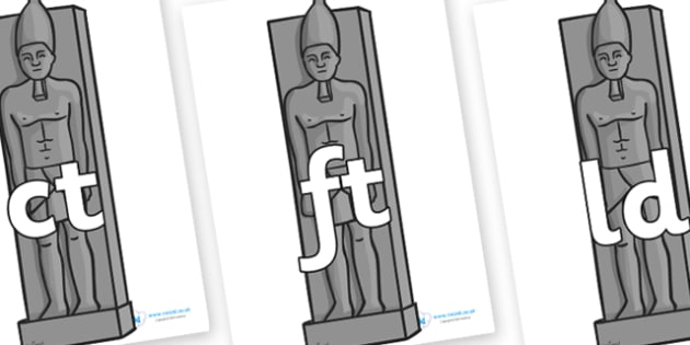 Final Letter Blends on Egyptian Statues - Final Letters, final letter, letter blend, letter blends, consonant, consonants, digraph, trigraph, literacy, alphabet, letters, foundation stage literacy