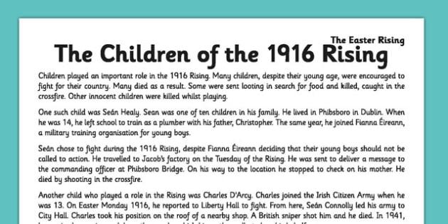 Children of the 1916 Rising Comprehension Activity Sheet - 1916 rising, easter rising, comprehension, ireland, roi, children, worksheet