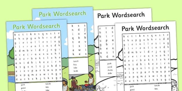Park Wordsearch - park, wordsearch, word search, eal, search