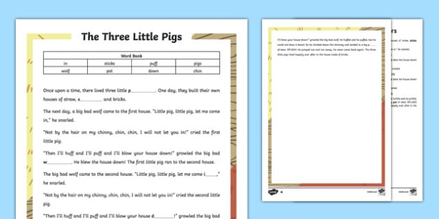 The Three Little Pigs Traditional Tale Cloze Procedure Differentiated Activity Sheet Pack, worksheet