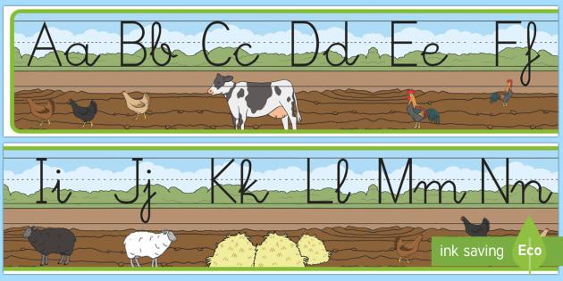 Recta alfabética de exposición: En la granja - En la granja, transcurricular, proyecto, animales, vaca, cerdo, oveja, pato, caballo, cabra, burro,