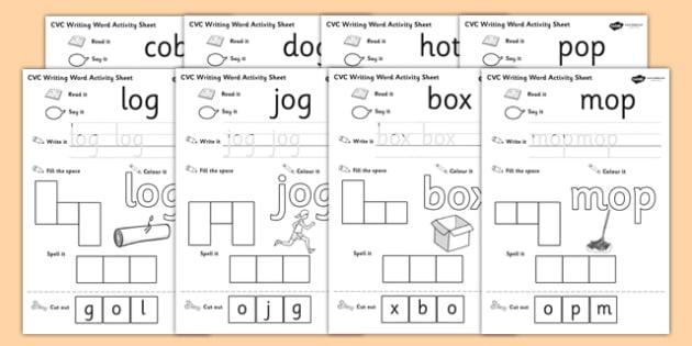 CVC Writing Word Activity Sheet Pack O - CVC, writing, word activity, sheets, activity sheets, reading and writing, colouring, vowels, O, worksheet