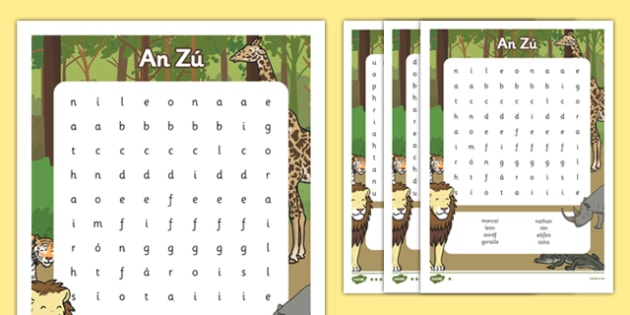 An Zú   Gaeilge Differentiated Word Search