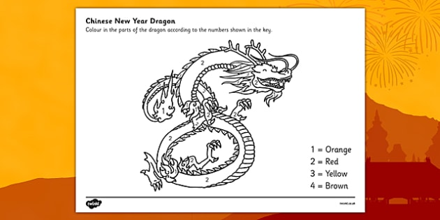 FREE! - Chinese Dragon Number Colouring by Numbers Sheet