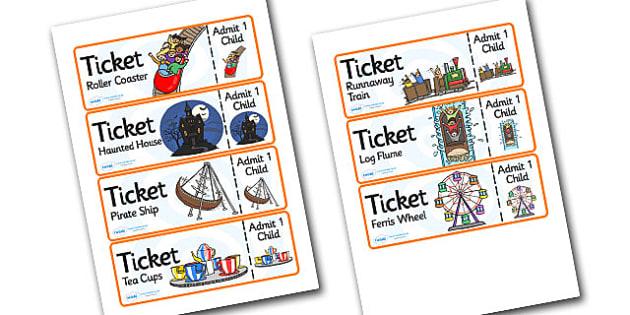 Theme Park Role Play Tickets - theme park, role play, tickets, theme park tickets, role play tickets, theme park role role, tickets for theme park