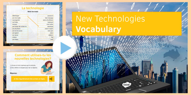 New Technology Vocabulary PowerPoint French - mobile, phone, internet, Internet, computer, screen, mouse, wifi