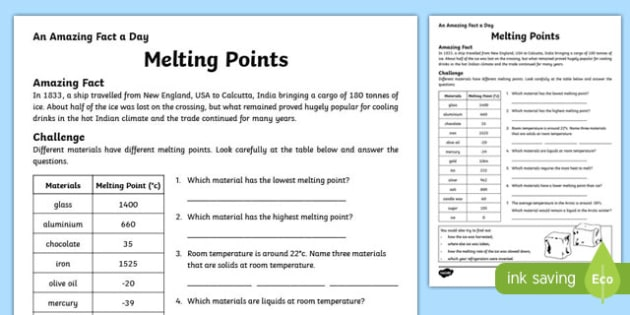 Melting Points Activity Sheet, worksheet