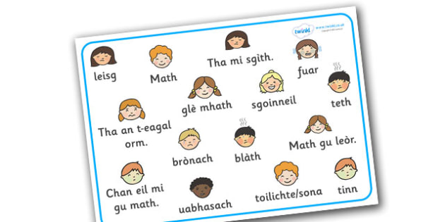 Scottish Gaelic Feelings Word Mat - scottish gaelic, feelings, feelings word mat, word mat, feelings in scottish, feelings in gaelic, language, languages, scotland, key words, gaels, celtic, literacy, aids, my emotions, ourselves, how I feel, express