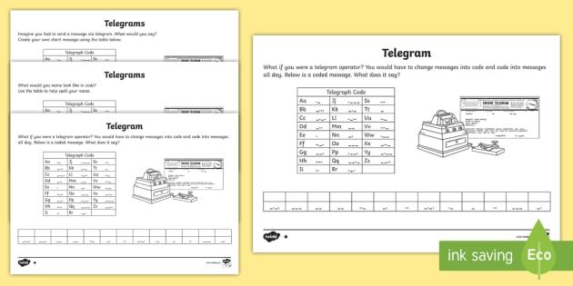 Telegrams Differentiated Worksheets - Communicate, code, explore