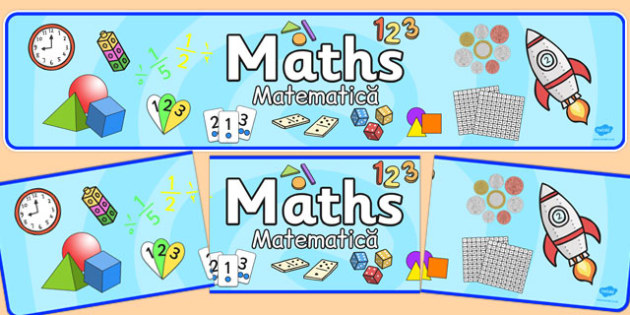 Maths Display Banner Romanian Translation - title, information, working wall, display, KS1, Key stage 1
