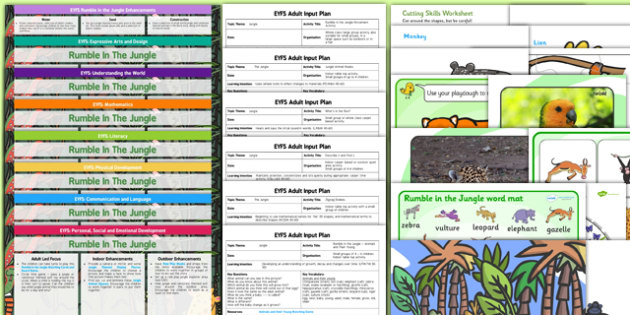 EYFS Lesson Plan Enhancement Ideas and Resources Pack to Support Teaching on Rumble in the Jungle - planning