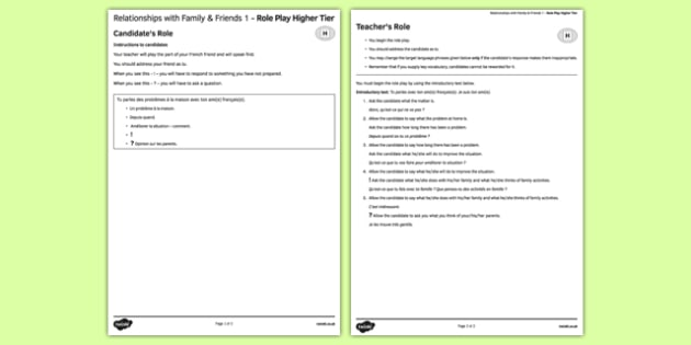 Relationships with Family and Friends 1 Higher Tier Role-Play French - Speaking, oral, parents, brother, sister, getting on, conflict, arguments, love