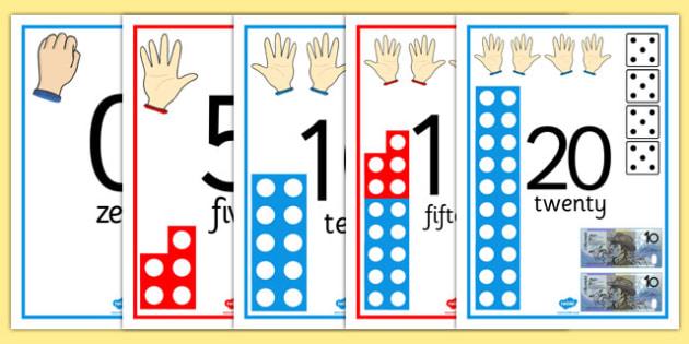 Visual Number Line Posters 0-20 Australian - australia, visual, number line, numberline, posters, display, 1-20