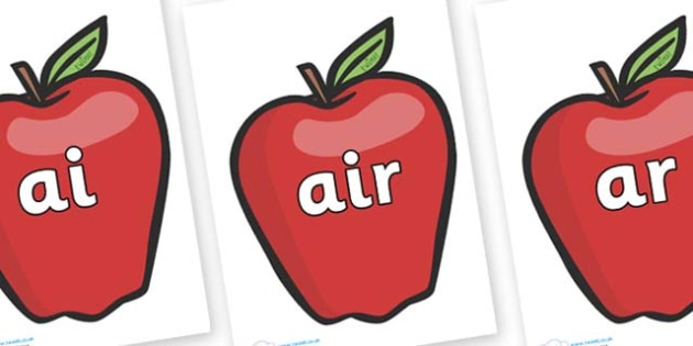 Phase 3 Phonemes on Red Apples - Phonemes, phoneme, Phase 3, Phase three, Foundation, Literacy, Letters and Sounds, DfES, display