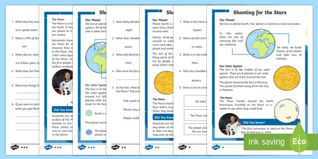 KS1 Planets and the Solar System Differentiated Reading Comprehension