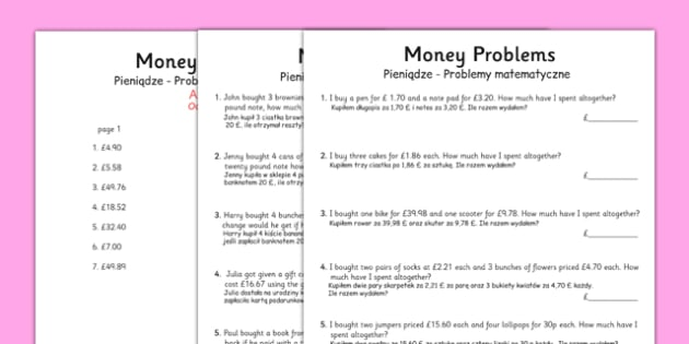 money word problems polish translation polish money word problems word. Black Bedroom Furniture Sets. Home Design Ideas