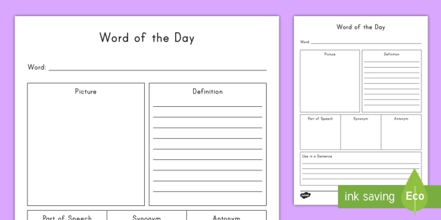 Word Of The Day Vocabulary Building Activity Teacher Made