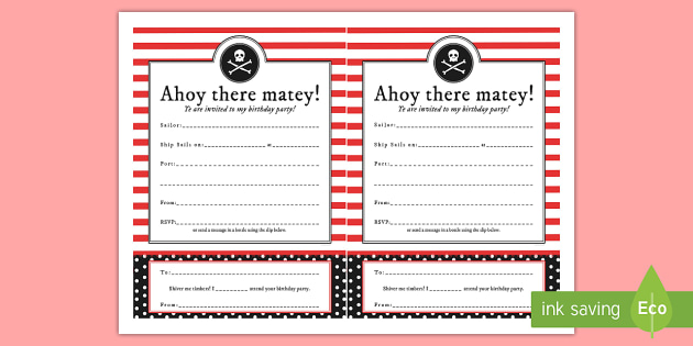 Pirate Themed Birthday Party Invitations Birthdays Parties