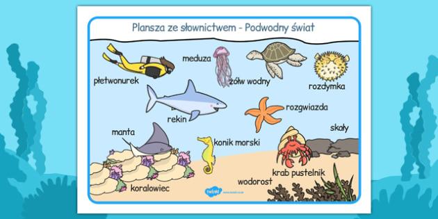 Plansza ze slownictwem Swiat podwodny po polsku - szkola , Polish