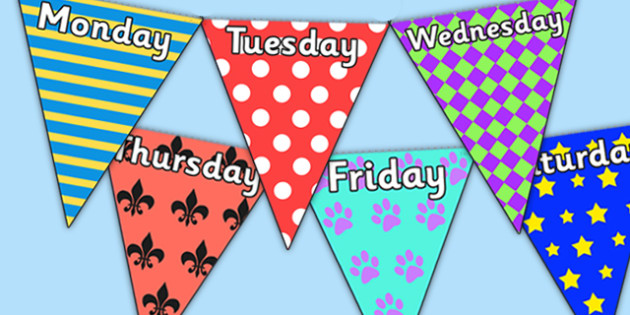 Pretty Pattern Themed days of the Week Bunting - pretty pattern, days of the week bunting, patterned bunting, patterned days of the week on bunting