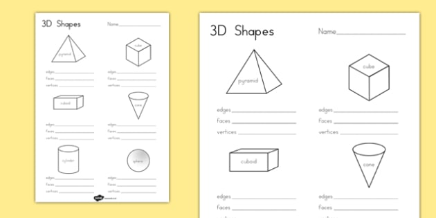3D Shape Properties Worksheets - australia, 3d, shape