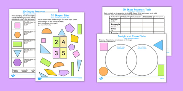 Properties of 2D Shapes Activity Sheets Polish Translation - polish, 2d, shapes, activity, worksheet