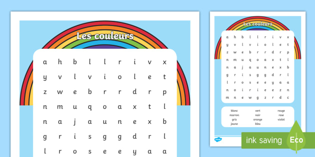 French Colours Word Search