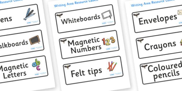 Eagle Themed Editable Writing Area Resource Labels - Themed writing resource labels, literacy area labels, writing area resources, Label template, Resource Label, Name Labels, Editable Labels, Drawer Labels, KS1 Labels, Foundation Labels, Foundation