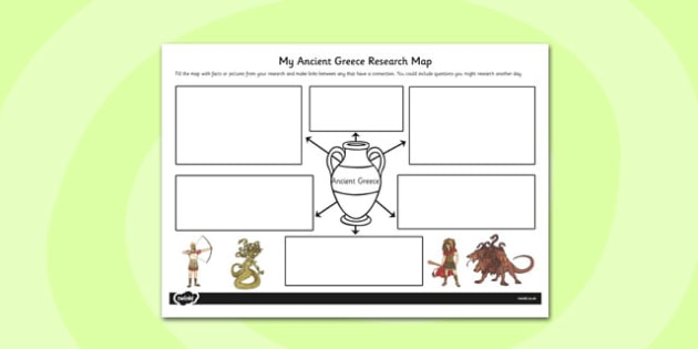 Ancient Greece Themed Research Map - ancient greece, research map