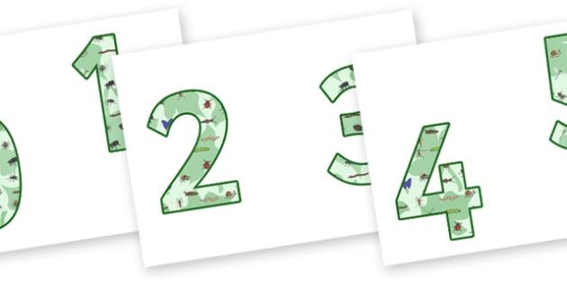 0-9 Display Numbers (Minibeasts) - Display numbers, 0-9, numbers, display numerals, minibeast, minibeasts, display lettering, display numbers, display, cut out lettering, lettering for display, display numbers