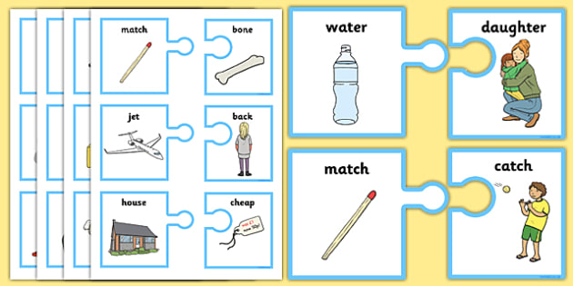 Rhyming Words On Matching Jigsaw Pieces - jigsaw, game, activity, jigsaw rhyme game, matching, matching rhyming game, jigsaw rhyming game, rhyming activity, rhyming words activity, rhyming words jigsaw game